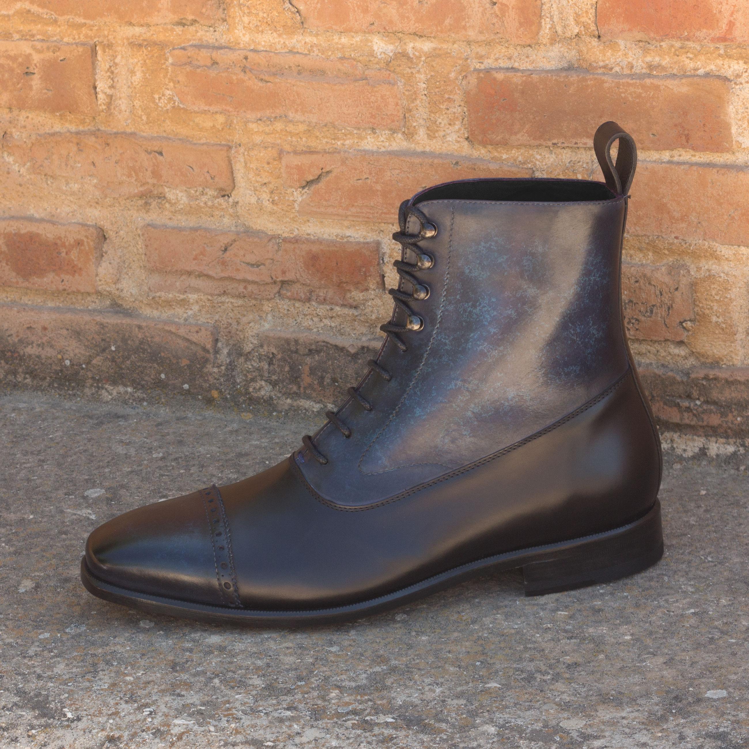 0b1ab6c80f862d Balmoral Boot black polished calf, denim crust patina - Animas Code